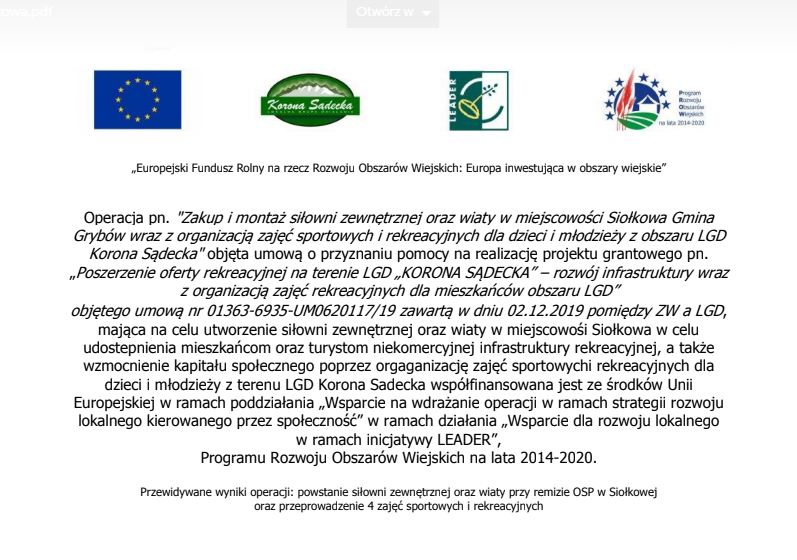 OSP Siołkowa zaprasza na zajęcia sportowe i rekreacyjne przy remizie OSP