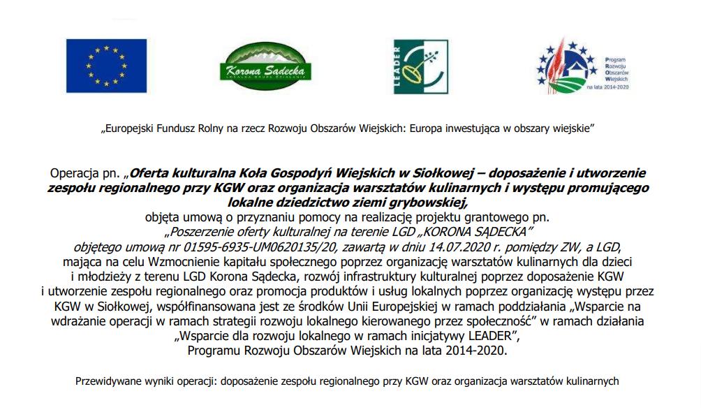 Oferta kulturalna Koła Gospodyń Wiejskich w Siołkowej